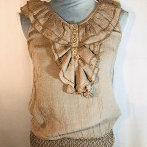 Mine Cute Brown Sleeveless Buttoned Tank Top